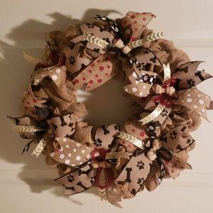 Dog Lover's burlap wreath,Door,Wall,doggie bone